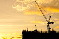 Construction site at twilight Royalty Free Stock Photos