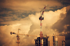 Construction site with two cranes Stock Image