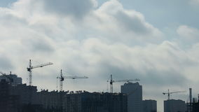 Construction site under blue sky with clouds stock video