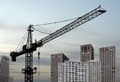 Construction site under dusk. Beijing Business Centre building Stock Image