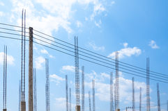 Construction site view of scaffolding poles on building site Stock Photo