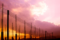 Construction site view of scaffolding poles on building site Royalty Free Stock Photos