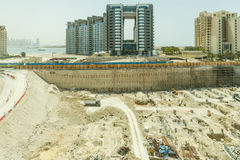 Construction Site that Viewed from Monorail in The Middle of The Way to Atlantis, Dubai Royalty Free Stock Photography
