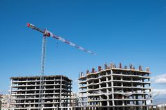 Construction site on which to build high-rise buildings.  royalty free stock photo
