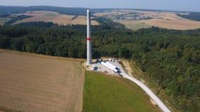 Construction site of a wind turbine, wind park. Rheingau-Taunus area - aerial view stock footage
