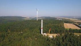 Construction site of a wind turbine, wind park. Rheingau-Taunus area - aerial view stock video footage