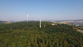 Construction site of a wind turbine, wind park. Rheingau-Taunus area - aerial view stock video