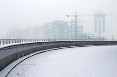 Construction site in winter fog. Stock Images