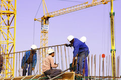 Construction site with worker royalty free stock images