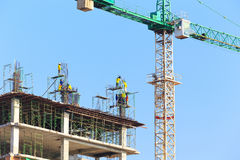 Construction Site with worker on blue sky Stock Photo