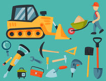 Construction site workers aerial industry equipment architecture crane building business development vector illustration Royalty Free Stock Photo