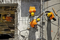 Construction site workers - Aerial Stock Photography