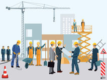 Construction site with workers Royalty Free Stock Photos