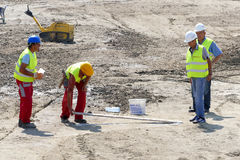 Construction site with workers. Belgrade, Serbia. September 9th, 2016: Construction site with workers preparing contruction of buildings with apartments Royalty Free Stock Photos