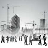Construction site workers stock illustration