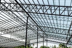 Steel frame roof for large warehouses royalty free stock photo