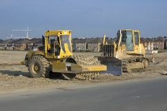 Construction sites. Truck, new houses and house's construction sites Royalty Free Stock Image