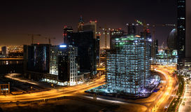 Construction sites in Dubai at night Stock Image