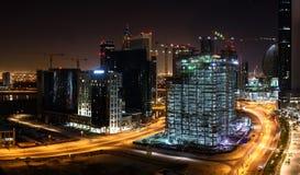 Construction sites in Dubai at night Stock Image
