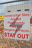 Construction sites are not playgrounds Stock Photos