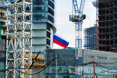 Construction of skyscrapers of the international business centre Stock Photos