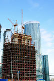 Construction of skyscrapers of the international business centre Royalty Free Stock Photography