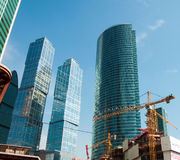 Construction of skyscrapers Moscow City, Russia Stock Photos