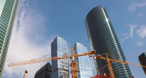 Construction of skyscrapers Moscow City, Russia Royalty Free Stock Images