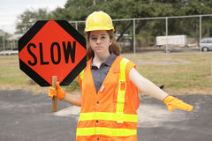 Construction Slow Sign Royalty Free Stock Photo
