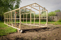 Construction of a small greenhouse Stock Photography
