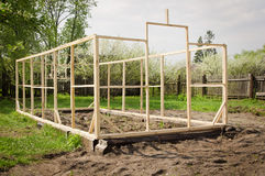 Construction of a small greenhouse Stock Images