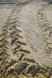 Construction soil with tractor wheel trace Royalty Free Stock Image