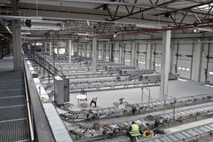 Construction of sorting station. For a warehouse stock photo