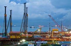Construction sous-marine de tunnel de l'ECM Singapour Image libre de droits