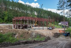 Construction of a sports complex in the resort city of Belokurikha in the Altai Krai. Belokurikha, Russia - July 29, 2015: Construction of a sports complex in Royalty Free Stock Photos