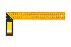 Construction square triangle ruler. Isolated on white background Stock Photos
