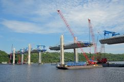 Construction of the St. Croix Crossing Extradosed Bridge. Oak Park Heights,, MN, USA - AUGUST 4 2016: Construction of the St. Croix Crossing Extradosed Bridge royalty free stock photos
