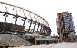 Construction of  stadium in Kiev. Construction works of Euro 2012 stadium in Kiev Royalty Free Stock Photo