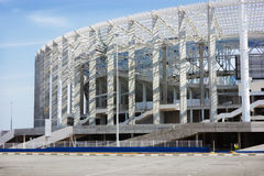Construction of stadium in Nizhny Novgorod. Nizhny Novgorod of the cities of the World Cup 2018. In sity successfully the stadium for 45 thousand spectators is Royalty Free Stock Photography