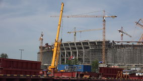 The construction of the stadium in St. Petersburg. 4K. stock video footage