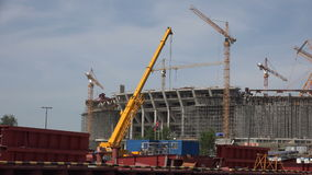 The construction of the stadium in St. Petersburg. 4K. stock footage