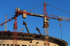 Construction of the stadium Zenith Arena closeup Royalty Free Stock Photo