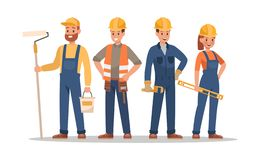 Free Construction Staff Characters Design. Include Foreman, Painter, Electrician, Landscaper, Carpenter. Professionals Team Stock Image - 134261111