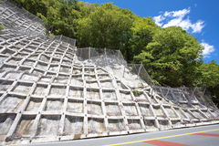 Construction steel netting protection landslide hill Stock Image