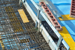 Construction with Steel Re-bar Royalty Free Stock Photography