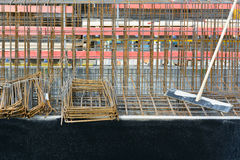 Construction with Steel Re-bar Stock Photography