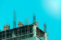 Construction - Steel Structures in building blue filler style Royalty Free Stock Images