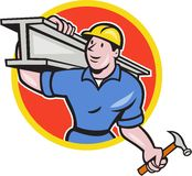 Construction Steel Worker Carry I-Beam Circle Cartoon Stock Photos