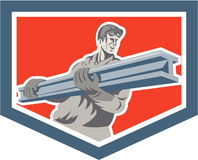 Construction Steel Worker Carrying I-Beam Shield Retro Royalty Free Stock Image