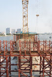 Construction. Stell scaffold in bridge construction site Royalty Free Stock Photography